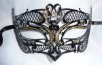 Genuine Venetian Black & Gold Glitter Metal Mini filigree Petite Eye Mask (1)